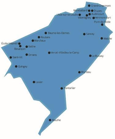 cartes des 25 communes équipées de dispositifs de receuil des demandes