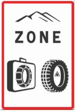 Panneau B58 : entrée en zone d'obligation d'équipements en période hivernale